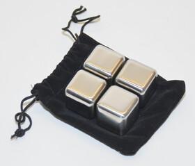 4er Set wiederverwendbare Eiswürfel aus Edelstahl komplett mit Geschenkverpackung