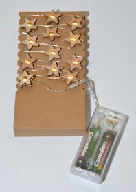 LED Lichterkette aus 20 Holzsternen mit...