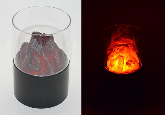 LED Dekofeuer mit Flackerlicht und Sichtglas, batteriebetrieben für Romantik pur