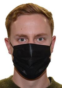 Einweg Mund- und Nasenmasken 3-lagig / schwarz