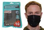 10er Packung Einwegmaske Mund- und Nasenmaske 3-lagig schwarz mit Nasenbügel