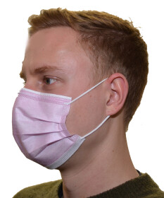 10er Packung Einwegmaske Mund- und Nasenmaske 3-lagig rosa mit Nasenbügel