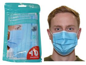 10er Packung Einwegmaske Mund- und Nasenmaske 3-lagig...