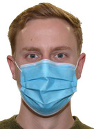 10er Packung Einwegmaske Mund- und Nasenmaske 3-lagig blau mit Nasenbügel
