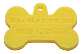 Hundemarke in Knochenform mit personalisierter Gravur für Hundename und Handynummer vom Halter