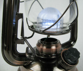 Dimmbare LED Sturmlampe warmweiß mit 15 Power LEDs in Bronze