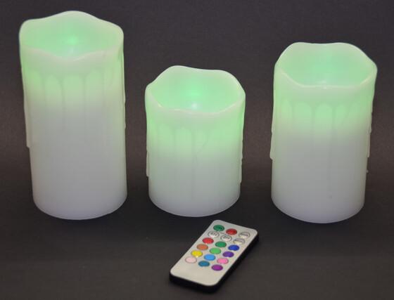 LED Echtwachskerzen 3er Set mit Farbwechsel LED und Fernbedienung sowie Timer