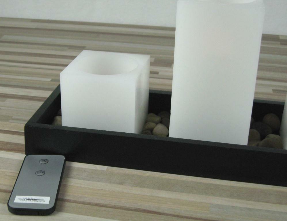 led echtwachskerzen 3er set mit fernbedienung auf einem holztablett m. Black Bedroom Furniture Sets. Home Design Ideas