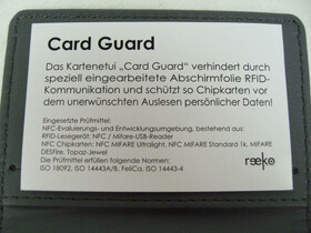 Card Guard für Kredikarten / Kreditkartenetui mit Abschirmfolie