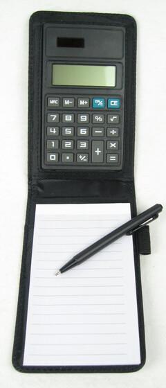 Notizset - Notizblock mit Stift und Taschenrechner in Lederoptik
