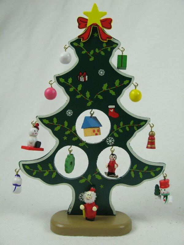 weihnachtsbaum aus holz 21cm mit 12 anh ngern ideal f r. Black Bedroom Furniture Sets. Home Design Ideas